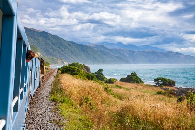Scenic train ride along Pacific ocean coast in Canterbury regoin, South Island of New Zealand