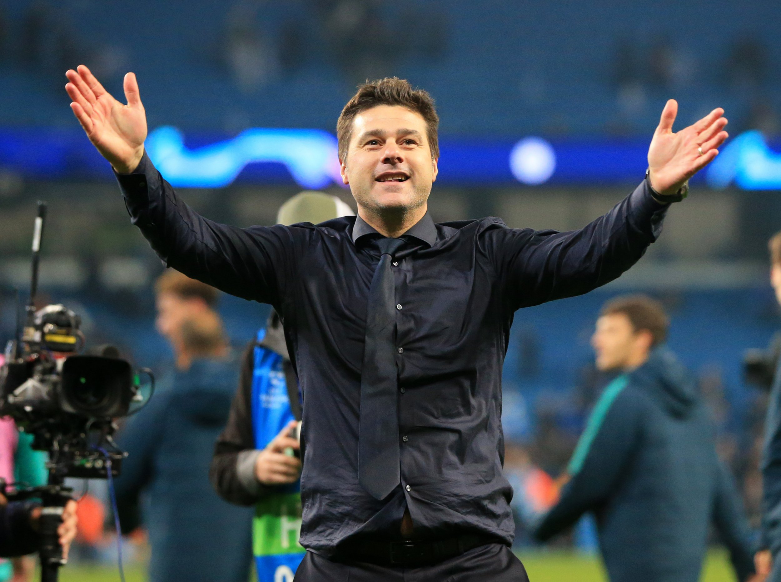 17th April 2019, Etihad Stadium, Manchester, England; UEFA Champions League football, quarter final 2nd leg, Manchester City versus Tottenham Hotspur; Tottenham Hotspur manager Mauricio Pochettino celebrates in front of the visiting fans after the final whistle (Photo by David Blunsden/Action Plus via Getty Images)