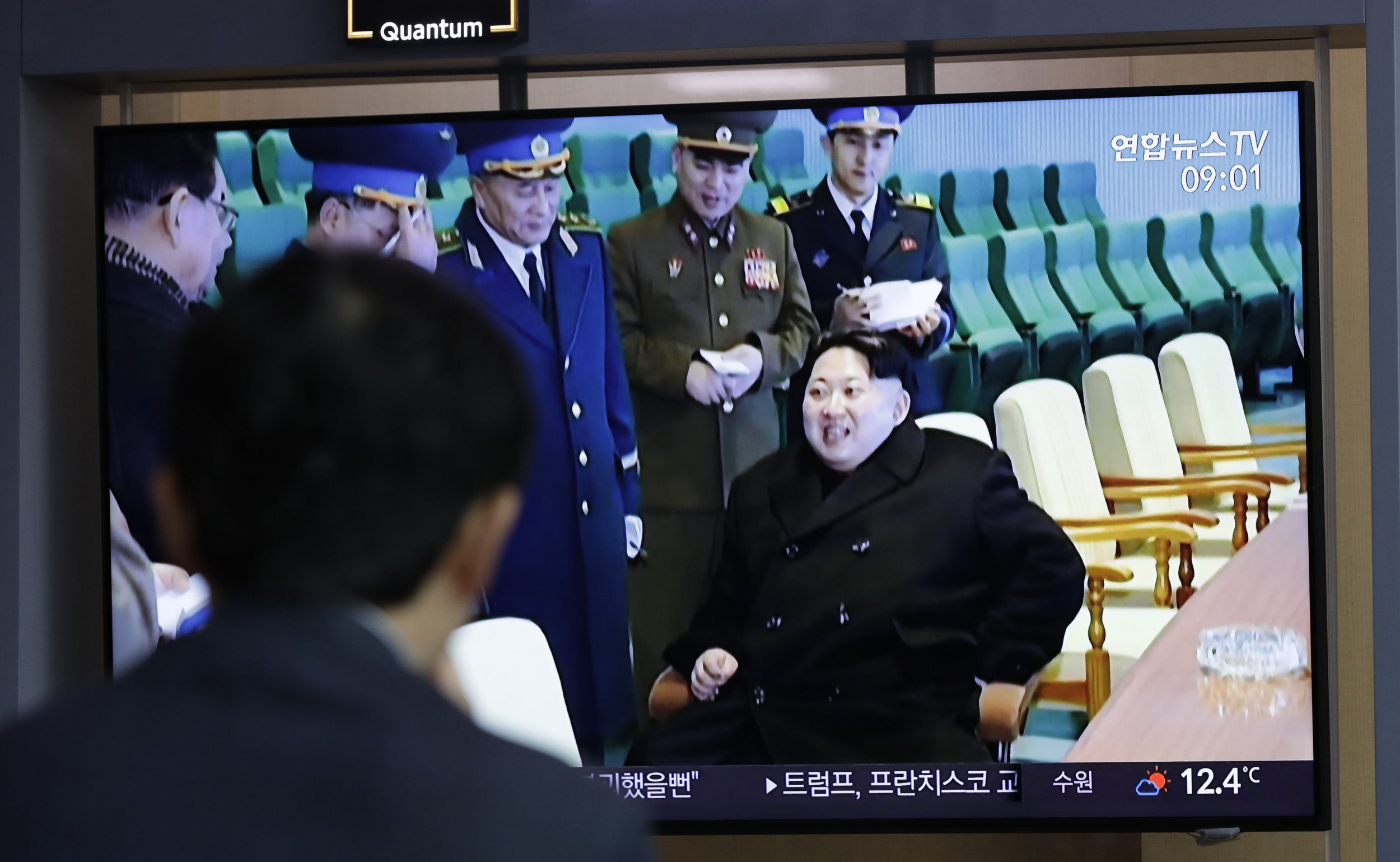 """A man watches a TV news program reporting about North Korea's test-fire of a """"new-type tactical guided weapon,"""" with a footage of North Korean leader Kim Jong Un, at the Seoul Railway Station in Seoul, South Korea, Thursday, April 18, 2019. North Korea has test-fired a """"new-type tactical guided weapon,"""" its state media announced Thursday, in a possible attempt to register displeasure with currently deadlocked nuclear talks with the United States without causing those coveted negotiations to collapse. (AP Photo/Lee Jin-man)"""