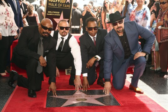 "HOLLYWOOD, CALIFORNIA - APRIL 18: Senen ""Sen Dog"" Reyes, Lawrence ""DJ Muggs"" Muggerud, Eric ""Bobo"" Correa and Louis ""B-Real"" Freese of Cypress Hill are honored with a star on The Hollywood Walk of Fame on April 18, 2019 in Hollywood, California. (Photo by Tommaso Boddi/WireImage)"