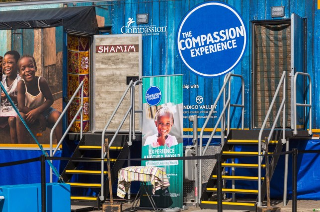 Alamy Live News. T50AG7 Bournemouth, Dorset, UK. 19th Apr, 2019. The Compassion Experience trailer arrives in Bournemouth Square where visitors can experience what it is like growing up in a developing country, as they find out about Sameson, a boy from Ethiopia and Shamim a girl from Uganda, as they journey from poverty to hope - the vulnerability, restrictions, and dangers they face. The trailer created by child development charity Compassion UK presents interactive, tactile, audio and visual stories for visitors to experience the sights, sounds and smells. Credit: Carolyn Jenkins/Alamy Live News This is an Alamy Live News image and may not be part of your current Alamy deal . If you are unsure, please contact our sales team to check.