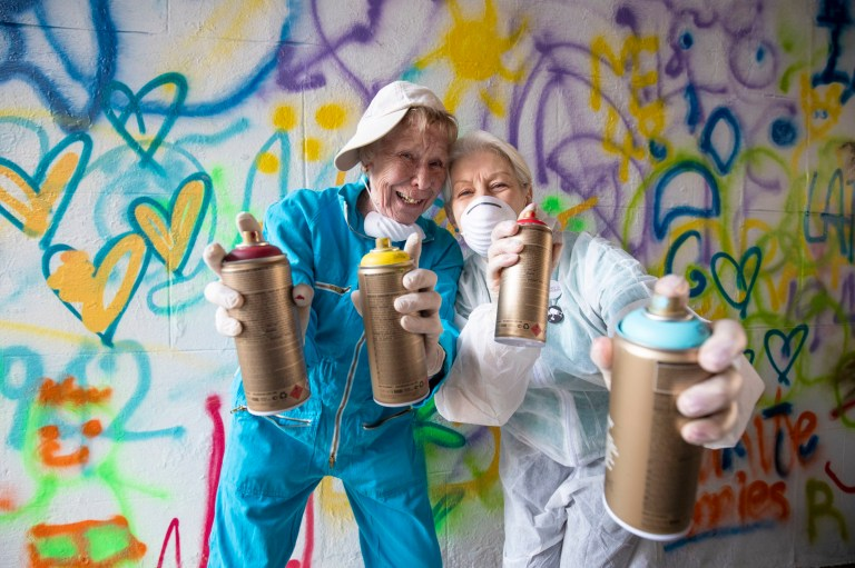Rosemary Murray, 77, (left) and Maggie Shepherd, 65, some of the 'Graffiti Grannies' that took part in an over-65s street-art workshop at this year's Nuart Aberdeen Festival. PRESS ASSOCIATION Photo. Picture date: Friday April 19, 2019. The annual festival features the work and installations of international street artists in and on buildings around Aberdeen city centre. See PA story ARTS Nuart. Photo credit should read: Jane Barlow/PA Wire