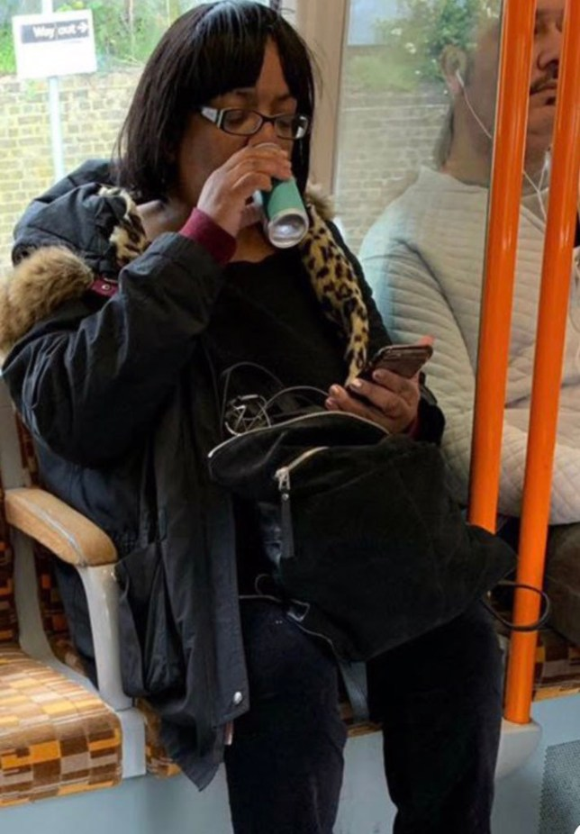 METRO GRAB - taken from Twitter without permission - Sun Exclusive image - editorial decision to use - Legalled Diane Abbott boozing on the train https://twitter.com/agricontract/status/1119353466990800896 No credit