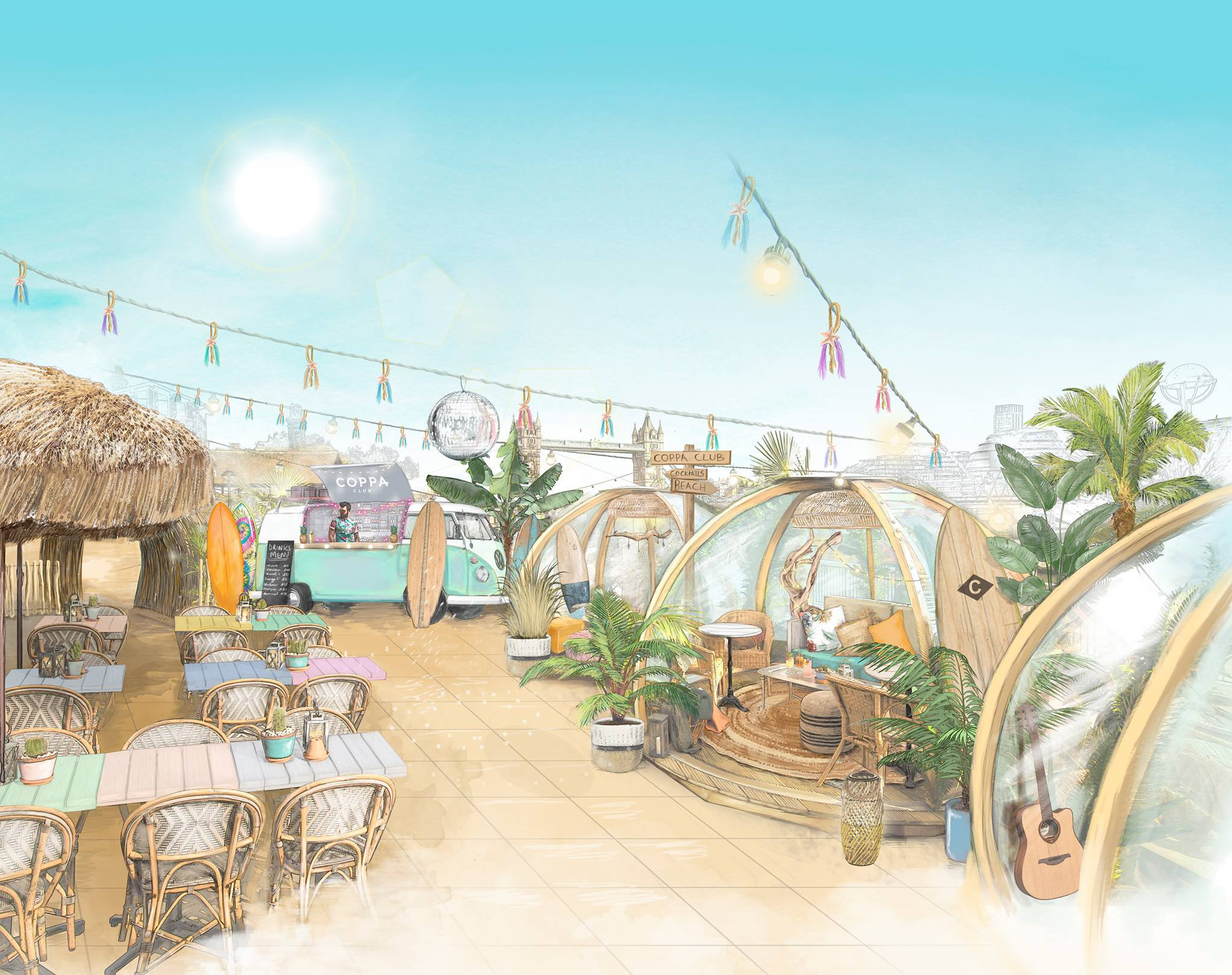 Coppa Club surf shack illustration