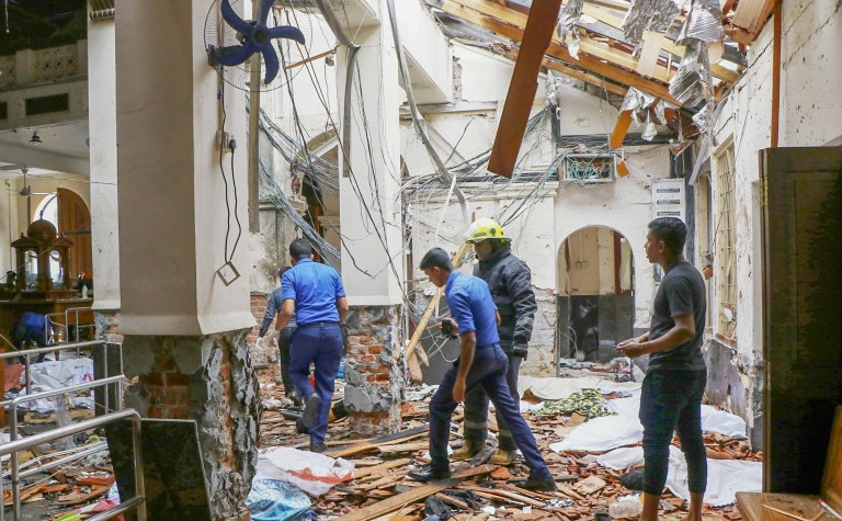 COLOMBO, SRI LANKA - APRIL 21: An inside view of the St. Anthony's Shrine after an explosion hit St Anthony's Church in Kochchikade in Colombo, Sri Lanka on April 21, 2019. According to reports at least 129 people killed and over 200 injured in blasts during the Easter Sunday service at churches and hotels as worshippers attended Easter services. (Photo by Chamila Karunarathne/Anadolu Agency/Getty Images)