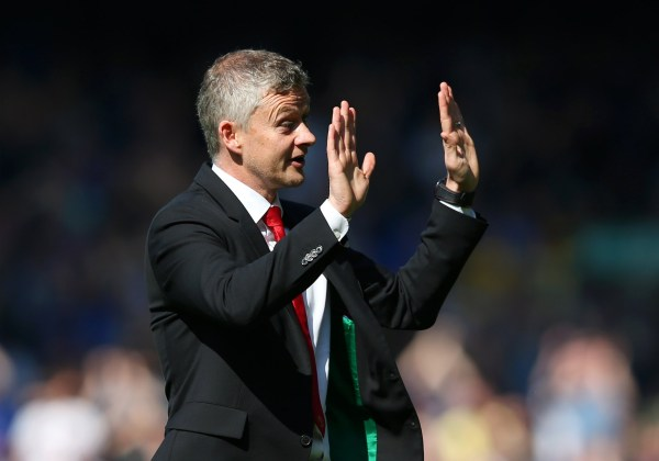 LIVERPOOL, ENGLAND - APRIL 21: Ole Gunnar Solskjaer, Manager of Manchester United acknowledges the travelling fans after the Premier League match between Everton FC and Manchester United at Goodison Park on April 21, 2019 in Liverpool, United Kingdom. (Photo by Alex Livesey/Getty Images)