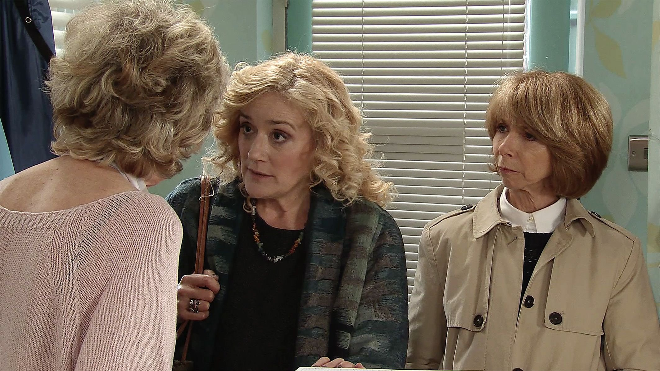 Editorial use only Mandatory Credit: Photo by ITV/REX/Shutterstock (9454936b) Ep 9402 Monday 12th March 2018 - 2nd Ep Despite Gail Rodwell, as played by Helen Worth, and Maria Connor, as played by Samia Longchambon, telling her the clairvoyant Rosemary, as played by Sophie Thompson, is a fake Audrey Roberts, as played by Sue Nicholls, is convinced she is the real deal and makes a booking with her. 'Coronation Street' TV Series UK - 2018