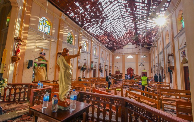 In this Sunday, April 21, 2019, a view of St. Sebastian's Church damaged in blast in Negombo, north of Colombo, Sri Lanka. Sri Lankan authorities blame seven suicide bombers of a domestic militant group for coordinated Easter bombings that ripped through Sri Lankan churches and luxury hotels which killed and injured hundreds of people. It was Sri Lanka's deadliest violence since a devastating civil war in the South Asian island nation ended a decade ago. (AP Photo/Chamila Karunarathne, file)