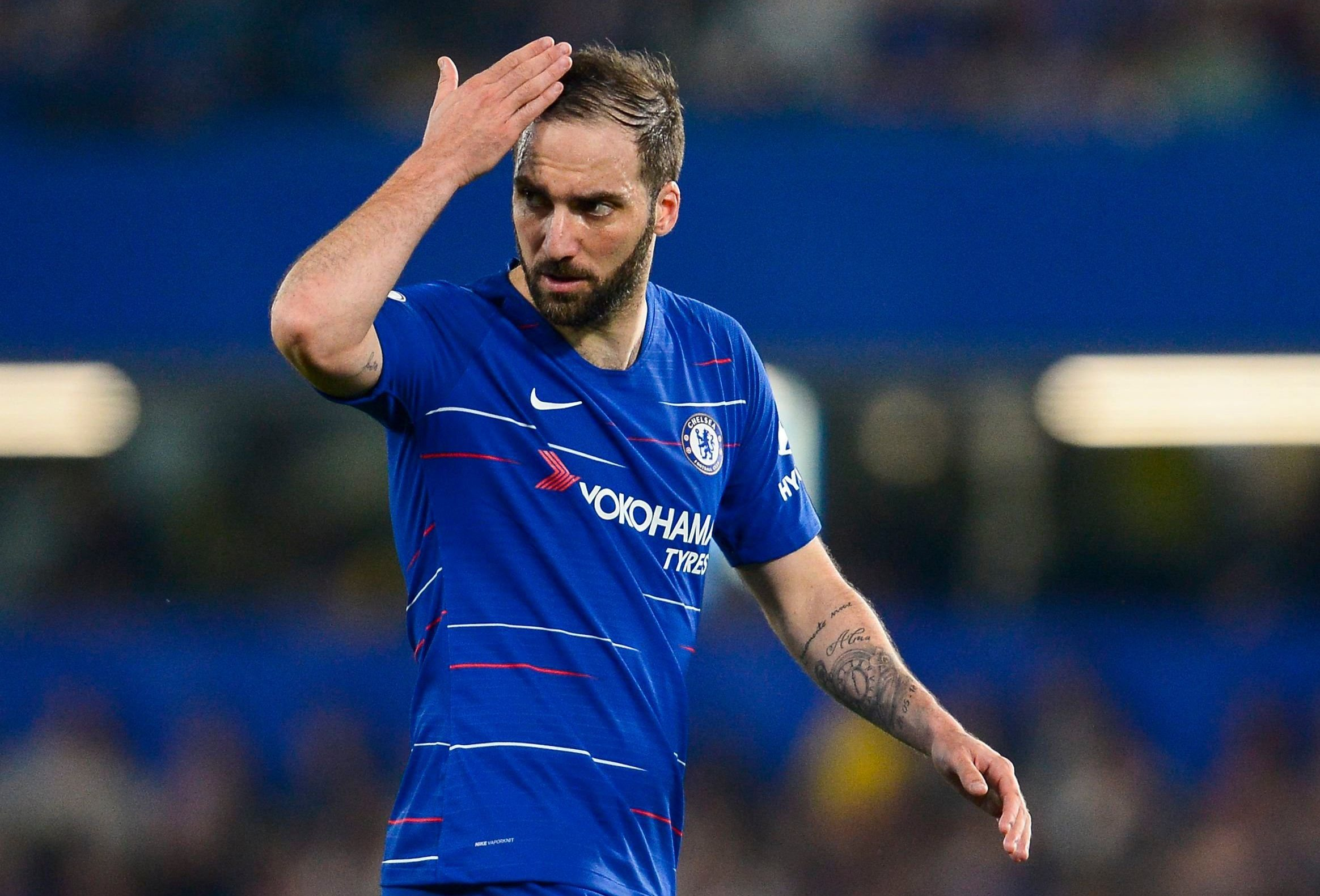 Gonzalo Higuain of Chelsea Chelsea v Burnley, Premier League, Football, Stamford Bridge, London, UK - 22 Apr 2019