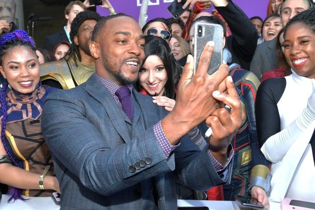 """LOS ANGELES, CA - APRIL 22: Anthony Mackie attends the world premiere of Walt Disney Studios Motion Pictures """"Avengers: Endgame"""" at the Los Angeles Convention Center on April 22, 2019 in Los Angeles, California. (Photo by Amy Sussman/Getty Images)"""