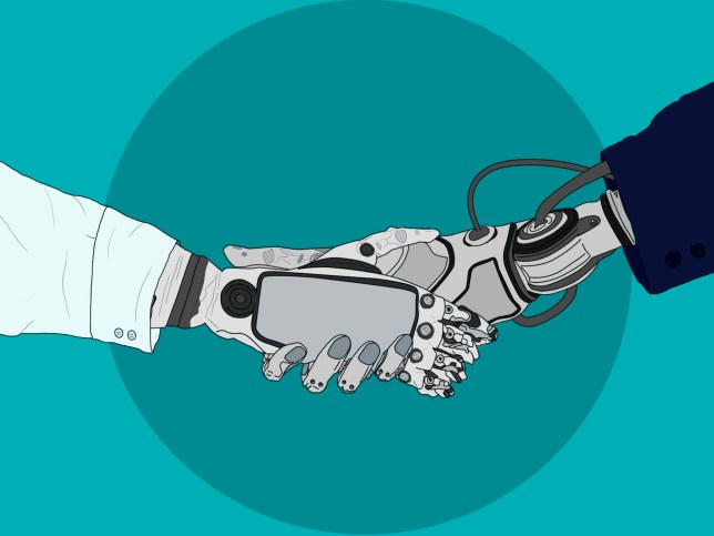 Automation quiz, robots shaking hands