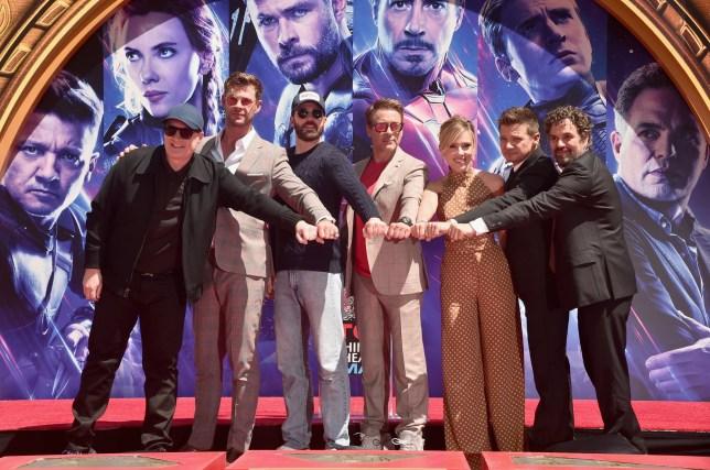 Marvel Avengers: Endgame stars with producer Kevin Feige, Chris Hemsworth, Chris Evans, Robert Downey Jr., Scarlett Johansson, Jeremy Renner and Mark Ruffalo