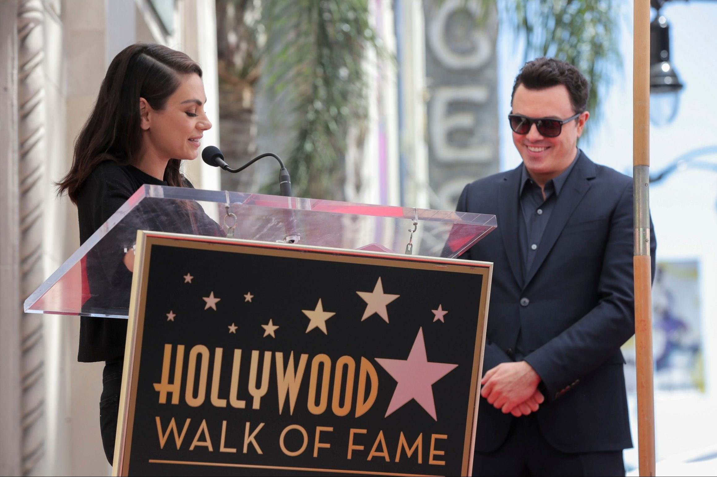 Mandatory Credit: Photo by Chelsea Lauren/Variety/REX (10217047cj) Mila Kunis and Seth MacFarlane Seth MacFarlane honored with a Star on the Hollywood Walk of Fame, Los Angeles, USA - 23 Apr 2019