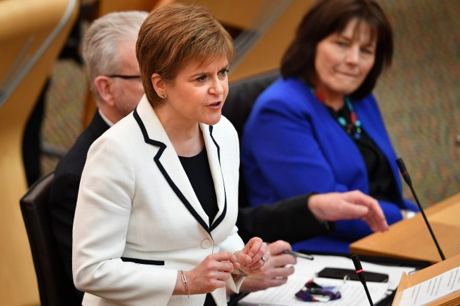 EDINBURGH, SCOTLAND - APRIL 24: First Minister of Scotland Nicola Sturgeon, updates the Scottish Parliament on Brexit and her plans for a possible Scottish independence referendum on April 24, 2019 in Edinburgh, Scotland. The SNP Spring Conference will take place on 27th and 28th April 2019, where it is expected that activists will put pressure on the leadership to start an Indyref2 campaign. (Photo by Jeff J Mitchell/Getty Images)