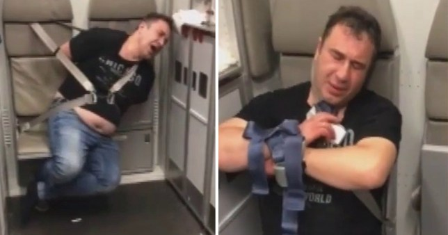 "THIS is the alarming moment an ???extremely aggressive??? doctor was restrained on a packed tourist flight from Bangkok after ""seeking to open the emergency exit??? at 33,000 ft. Russian anaesthetist Vadim Bondar was overpowered by male passengers after causing terror on the Aeroflot service. A blue-shirted Norwegian traveller led the way in tackling the ???drunk doctor??? soon aided by Russians, said reports. They tied him with a belt, and he remained restrained for four hours before the aircraft landed safely in Moscow."