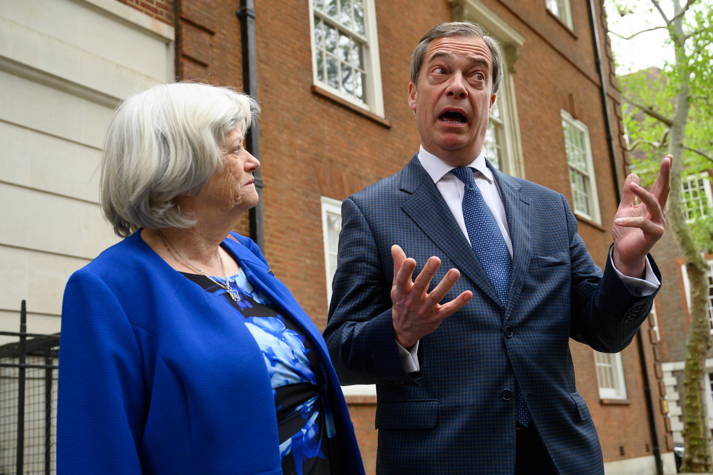 LONDON, ENGLAND - APRIL 24: Ann Widdecombe (L) and Nigel Farage pose at St John's, Smith Square on April 24, 2019 in London, England. Ann Widdecombe has been a member of the Conservative Party for 43 years, in that time she has been MP for Maidstone and under the leadership of William Hague she served as Shadow Health Secretary and Shadow Home Secretary. In 2010 she appeared on Strictly Come Dancing. Today she announced her return to politics standing in the forthcoming European Elections for the newly-formed Brexit Party. (Photo by Leon Neal/Getty Images)