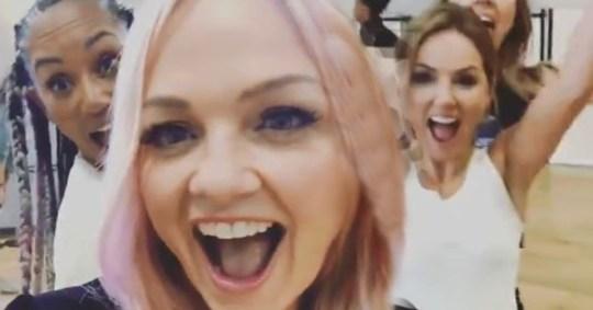 Emma Bunton, Mel B and Geri Horner in Spice Girls rehearsals