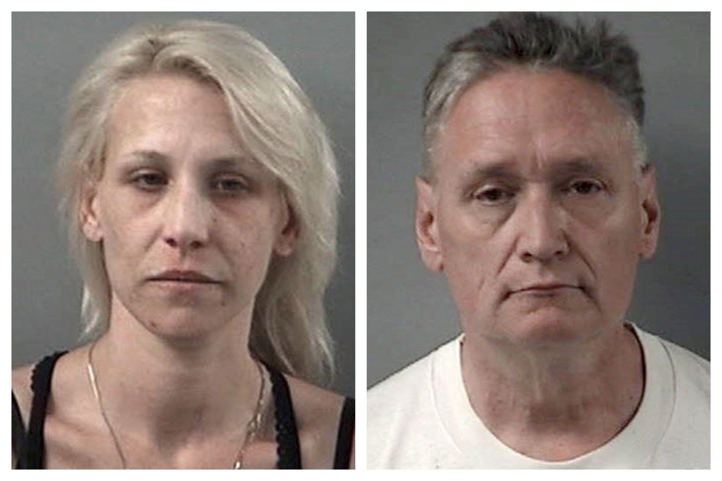 """This combination April 24, 2019 booking photos provided by the Crystal Lake, Ill., Police Department shows JoAnn Cunningham and her husband, Andrew Freund Sr. On Wednesday, authorities dug up the body of a 5-year-old boy, believed to be Andrew """"AJ"""" Freund, who was reported missing the previous week and charged his parents with murder and other counts. (Crystal Lake Police Department via AP)"""