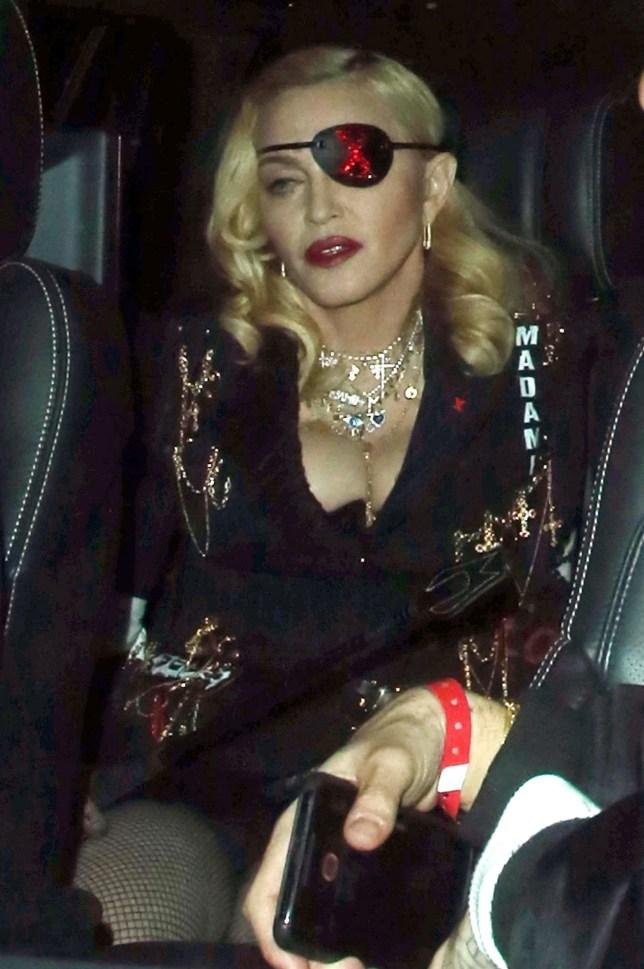 BGUK_1558957 - London, UNITED KINGDOM - Madonna wearing eye patch leaving MTV Studios In London After MTV Live Pictured: Madonna BACKGRID UK 24 APRIL 2019 BYLINE MUST READ: CRYSTAL PIX / BACKGRID UK: +44 208 344 2007 / uksales@backgrid.com USA: +1 310 798 9111 / usasales@backgrid.com *UK Clients - Pictures Containing Children Please Pixelate Face Prior To Publication*