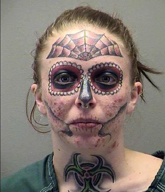 Woman with distinctive face tattoo can't stop getting