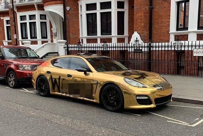 Instagram's unluckiest millionaire has 'w*****' spray-painted on gold Porsche