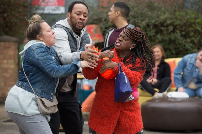 WARNING: Embargoed for publication until 00:00:01 on 30/04/2019 - Programme Name: EastEnders - April - June - 2019 - TX: 06/05/2019 - Episode: EastEnders - April - June - 2019 - 5914 (No. 5914) - Picture Shows: *STRICTLY NOT FOR PUBLICATION UNTIL 00:01HRS TUESDAY 30th APRIL 2019* Mitch tries to break up Kim and Karen arguing. Karen Taylor (LORRAINE STANLEY), Mitch Baker (ROGER GRIFFITHS), Kim Fox-Hubbard (TAMEKA EMPSON) - (C) BBC - Photographer: Jack Barnes