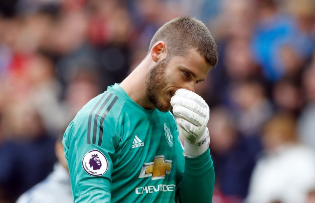 """Manchester United goalkeeper David de Gea appears dejected during the Premier League match at Old Trafford, Manchester. PRESS ASSOCIATION Photo. Picture date: Sunday April 28, 2019. See PA story SOCCER Man Utd. Photo credit should read: Martin Rickett/PA Wire. RESTRICTIONS: EDITORIAL USE ONLY No use with unauthorised audio, video, data, fixture lists, club/league logos or """"live"""" services. Online in-match use limited to 120 images, no video emulation. No use in betting, games or single club/league/player publications."""