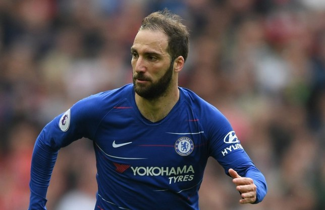 MANCHESTER, ENGLAND - APRIL 28: Gonzalo Higuain of Chelsea runs with the ball during the Premier League match between Manchester United and Chelsea FC at Old Trafford on April 28, 2019 in Manchester, United Kingdom. (Photo by Shaun Botterill/Getty Images)