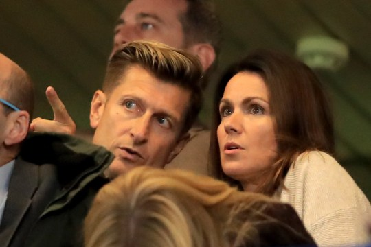 LONDON, ENGLAND - NOVEMBER 04: TV presenter Susanna Reid with Crystal Palace chairman Steve Parish during the Premier League match between Chelsea FC and Crystal Palace at Stamford Bridge on November 4, 2018 in London, United Kingdom. (Photo by Marc Atkins/Getty Images)