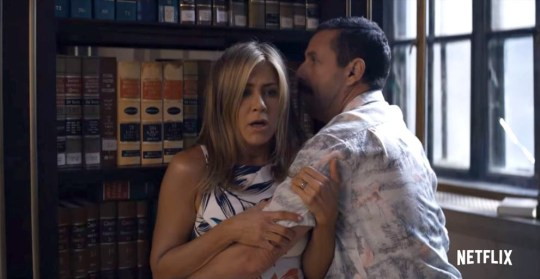 Jennifer Aniston and Adam Sander as Audrey and Nick Spitz in Netflix's Murder Mystery.