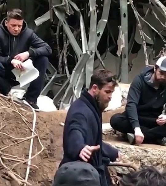 Jeremy Renner, Chris Hemsworth and Sebastian Stan on set of Avengers: Endgame.