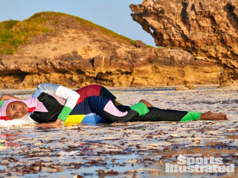 Halima Aden returns to Kenya where she was a refugee to do a burkini photoshoot for Sports Illustrated