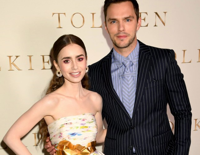 """LONDON, ENGLAND - APRIL 29: Lily Collins and Nicholas Hoult attend the """"Tolkien"""" UK premiere at The Curzon Mayfair on April 29, 2019 in London, England. (Photo by Dave J Hogan/Getty Images)"""