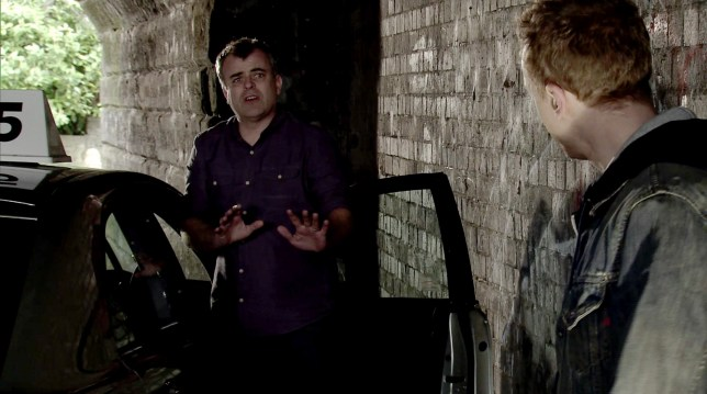 The armed robber turns on Steve McDonald (Simon Gregson) with a knife in Coronation Street