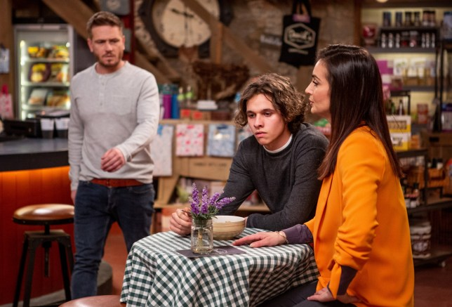 Jacob Gallagher, David Metcalfe, and Leyla Harding in Emmerdale