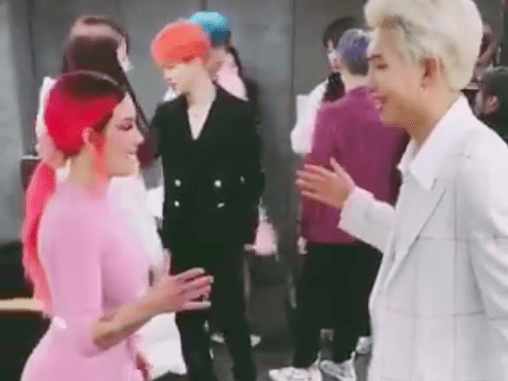 Halsey has a secret handshake with RM like she's a regular member of BTS