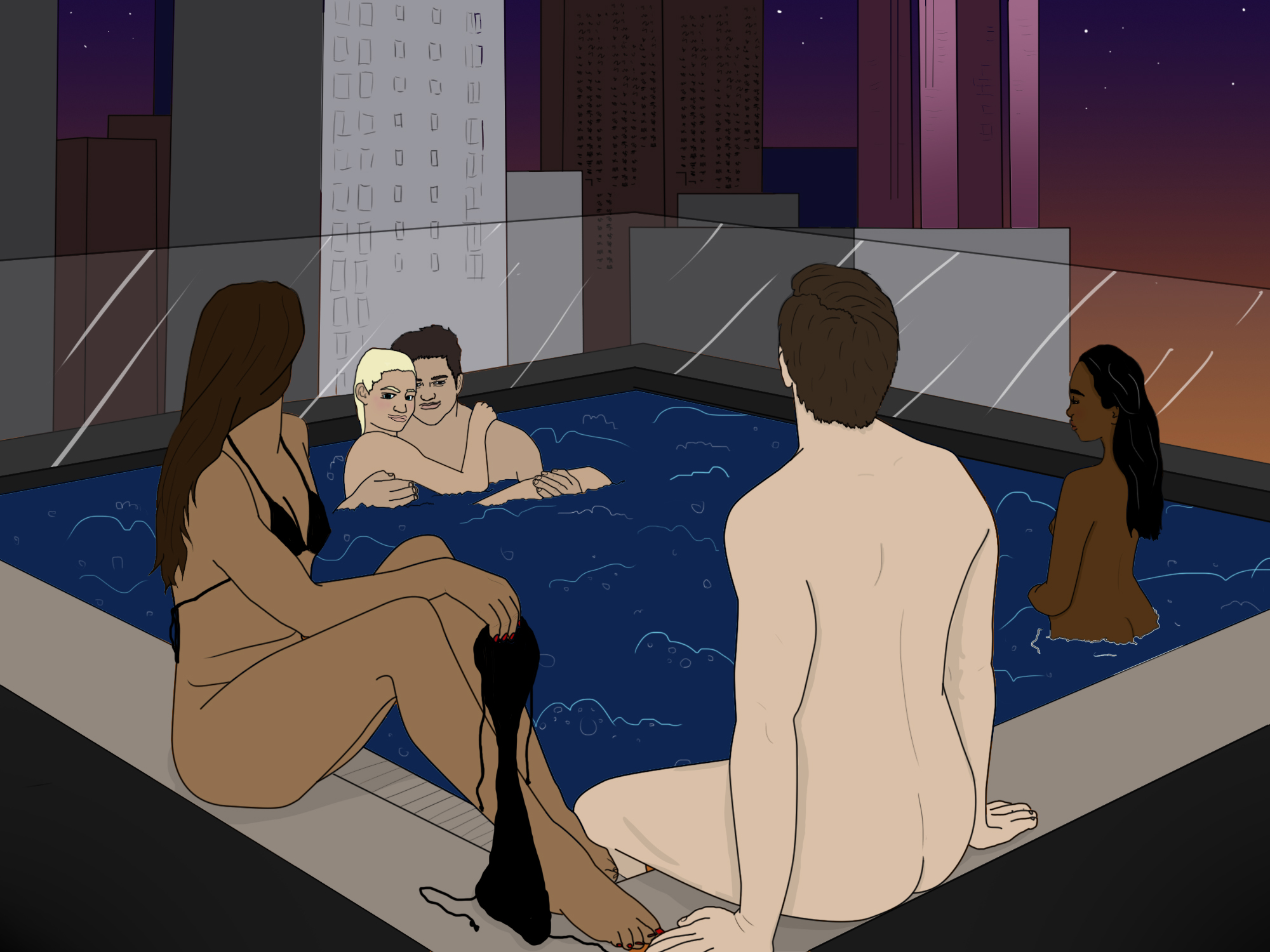 I went to a sensual supper club and ended up naked in a hot tub orgy