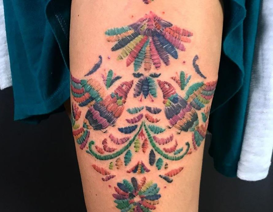 Embroidery tattoos are the body art trend crafty types will love