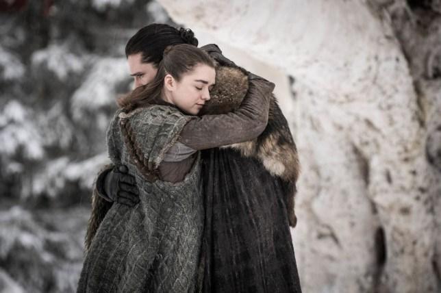 Jon Snow hugging Arya Stark