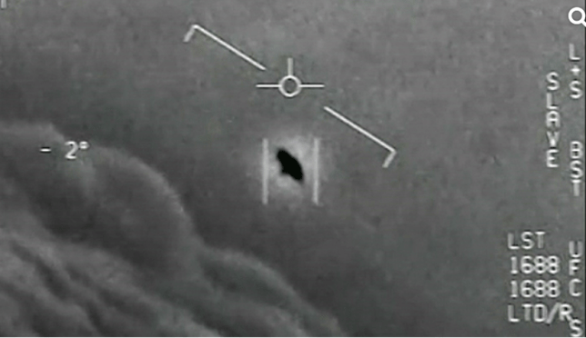 A view of a 'Tic Tac' UFO recorded by US Navy pilots in 2004 in a different unexplained incident