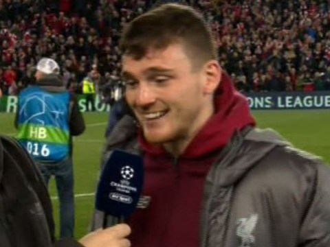 Andy Robertson mocks Luis Suarez after Liverpool knock Barcelona out of the Champions League