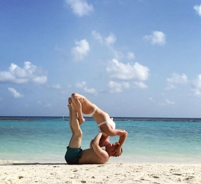 Sam Aston casually showing off his yoga skills