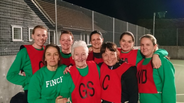 Anne with her netball team