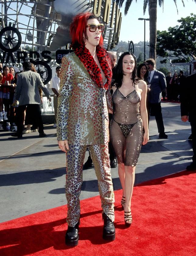 Rose McGowan at 1998 VMAs with Marilyn Manson