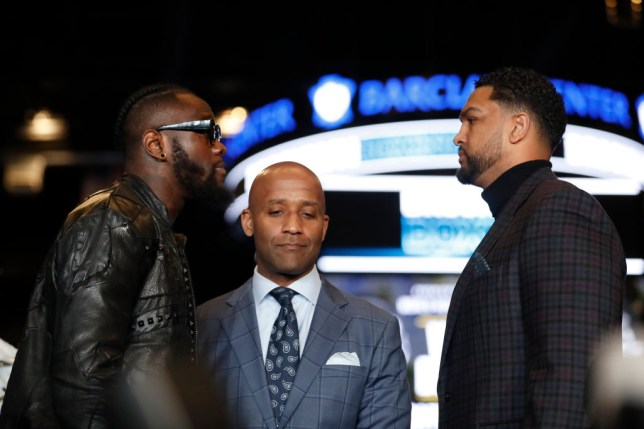Deontay Wilder faces off with Dominic Breazeale during a press conference
