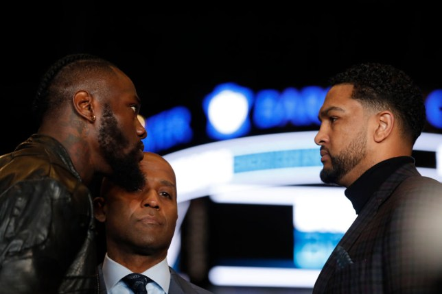 Deontay Wilder faces off with Dominic Breazeale ahead of their fight this weekend