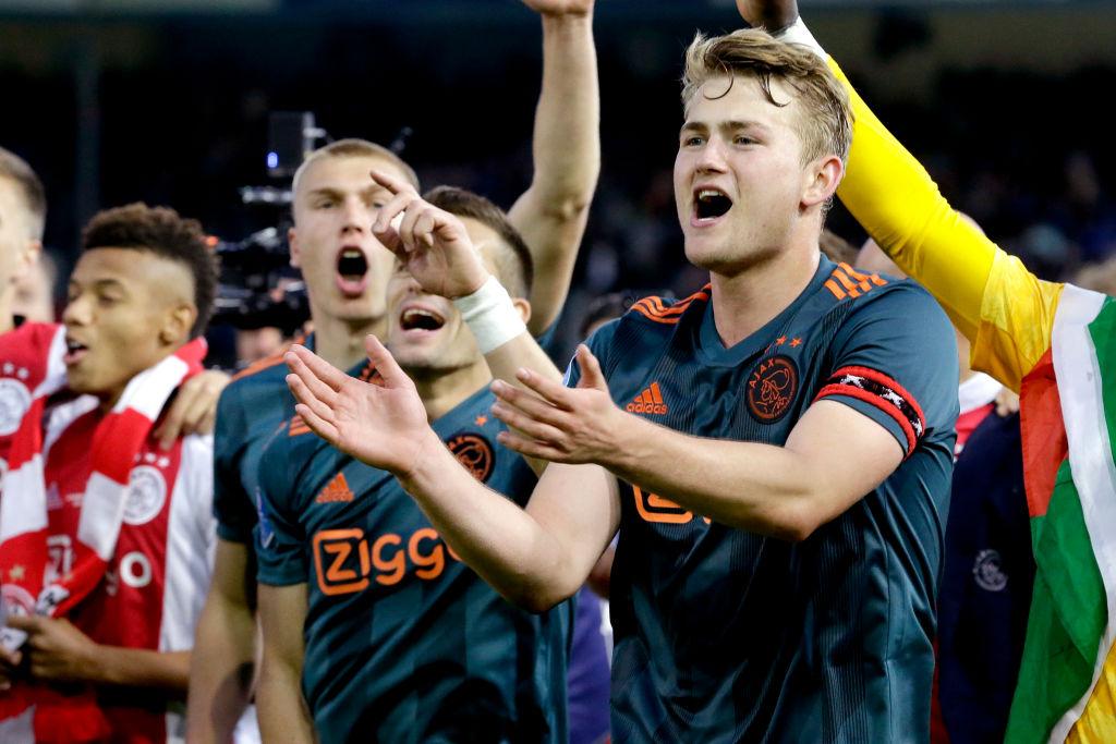 DOETINCHEM, NETHERLANDS - MAY 15: Matthijs de Ligt of Ajax celebrates the championship during the Dutch Eredivisie match between De Graafschap v Ajax at the De Vijverberg on May 15, 2019 in Doetinchem Netherlands (Photo by Soccrates/Getty Images)