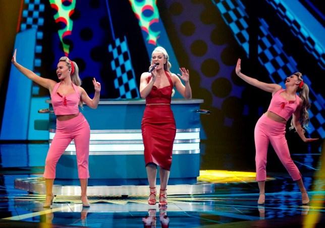 Sarah Mcternan sings at Eurovision