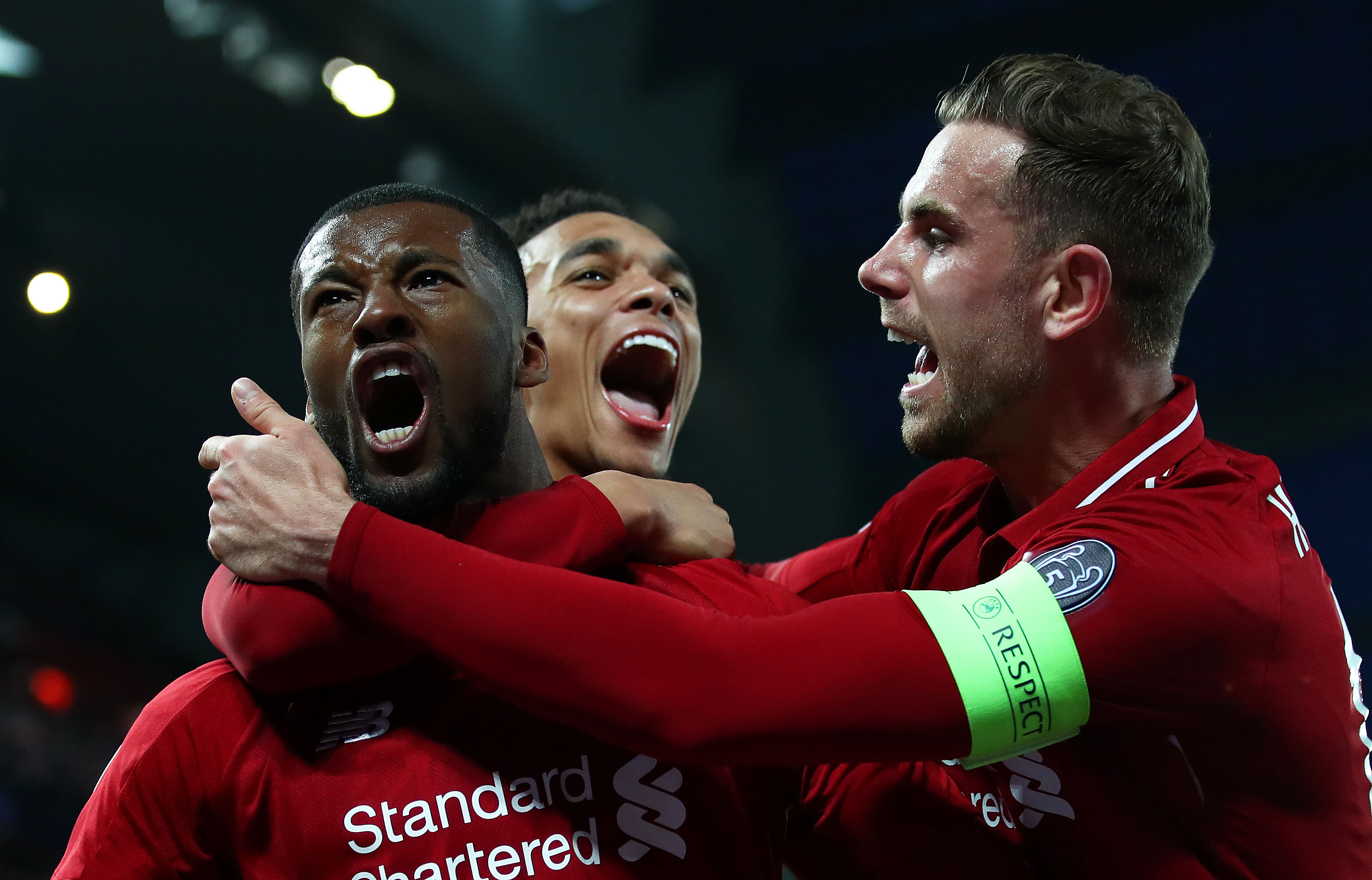 Liverpool players celebrating their win against Barcelona in the Champion's League semi-final