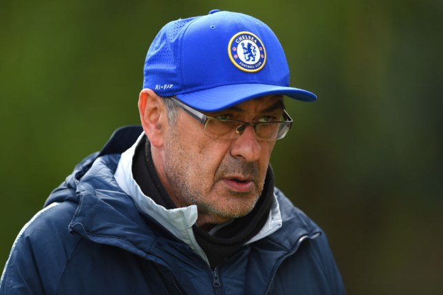 COBHAM, ENGLAND - MAY 08: Maurizio Sarri, Manager of Chelsea walks out to the Chelsea Training Session on the eve of their UEFA Europa League semi final against Eintracht Frankfurt at Chelsea Training Ground on May 08, 2019 in Cobham, England. (Photo by Harriet Lander/Getty Images)